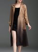 Coffee Polyester Gradient A-line Long Sleeve Coat