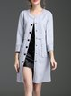 Light Blue Casual Suede Coat