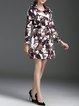 Brown Abstract Elegant Lapel A-line Coat