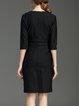 Cotton-blend 3/4 Sleeve Plain Buttoned Elegant Wrap Dress