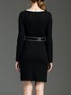 Black Crew Neck Rayon Elegant Sheath Midi Dress