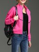 Fuchsia Piping Long Sleeve H-line Polyester Bomber Jacket