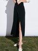 Black Simple Slit Wide Leg Pants