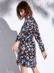 Multicolor Printed Stand Collar 3/4 Sleeve Mini Dress