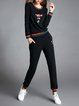 Embroidered Crew Neck Long Sleeve Girly Top With Pants