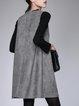 Casual Crew Neck Sleeveless Solid Spandex Midi Dress