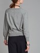 Solid Polyester Long Sleeve Crew Neck Casual Sweater