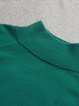 Green Long Sleeve Solid Polyester Sweater