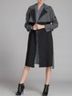 Gray Casual Nylon Buttoned Lapel Coat