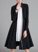 Gathered Long Sleeve Stand Collar Coat
