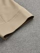 Pockets Solid Casual Shirt Collar Half Sleeve Coat