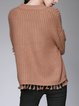 Casual Knitted Acrylic Solid Sweater