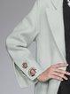 Casual Slit Long Sleeve Lapel Wool Blend Coat