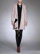 Long Sleeve Patch Wool Blend H-line Coat