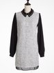 Light Gray Basic Cotton-blend H-line Mini Dress