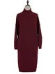 Turtleneck Knitted Solid Simple Long Sleeve Midi Dress