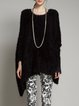 Asymmetrical Batwing Simple Crew Neck Knitted Sweater