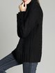 Black H-line Long Sleeve Turtleneck Plain Sweater