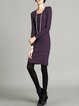 Simple Sheath Long Sleeve Crew Neck Solid Cotton-blend Knitted Midi Dress