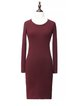 Sheath Long Sleeve Simple Crew Neck Solid Midi Dress