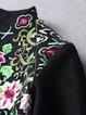 Black Stand Collar Embroidered Floral Vintage Coat