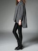 Gray Plain Long Sleeve Wool Blend Asymmetrical Coat