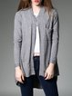 Gray Pockets Plain Long Sleeve Cardigan