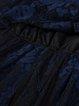 Navy Blue Lace A-line Crew Neck 3/4 Sleeve Midi Dress