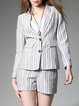 Gray Lapel Two Piece Long Sleeve Romper