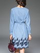 Blue Embroidered Long Sleeve Cotton V Neck Midi Dress With Belt