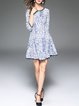 Letter Casual Printed 3/4 Sleeve Cotton-blend Mini Dress