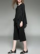 Black Asymmetrical Casual Lace Paneled Long Sleeved Top