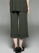 Army Green Casual Pockets Knitted Solid Cropped Pants