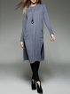Gray Crew Neck Knitted Long Sleeve Cashmere Slit Sweater Dress