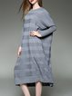 Gray Knitted Stripes Batwing Shift Midi Dress