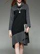 Long Sleeve Turtleneck Casual Color-block Asymmetrical Midi Dress