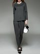 Gray Solid Crew Neck Casual Pockets Two Piece Jumpsuit