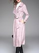 Simple Plain A-line Long Sleeve Trench Coat with Belt