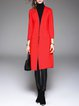 Red Plain Pockets Simple Open Collar Long Sleeve Coat