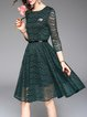 Long Sleeve A-line Elegant Lace Midi Dress with Belt