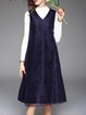 Dark Blue Vintage Wool Blend Mesh Paneled Sleeveless Midi Dress