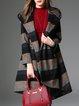 Stripes Long Sleeve Casual Asymmetrical Wool Blend Coat