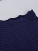 Dark Blue Fringed Turtleneck Batwing Knitted Sweater