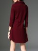 Wine Red Asymmetrical Shirt Collar Solid Midi Dress With Necklace
