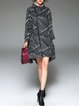 Black Wool Blend Color Block High Low Elegant Coat