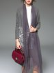 Gray Solid Embroidered Elegant Coat
