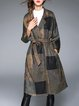 Long Sleeve Checkered Wool Blend Pockets Casual Coat With Belt