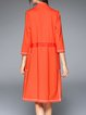 Orange Elegant Pockets Binding Plain Coat