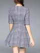 Gray Checkered/Plaid Casual Cotton-blend Crew Neck Swing Mini Dress