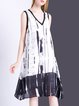 Black-white Printed Two Piece V Neck Casual Midi Dress